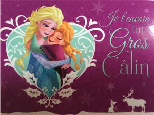 Carte postale Reine des neiges - je t'envoie un gros câlin